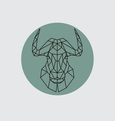 bull mountain head in polygonal style vector image