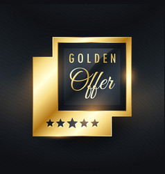 Golden offer label and badge design vector
