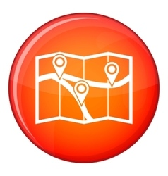 Map with pin pointers icon flat style vector