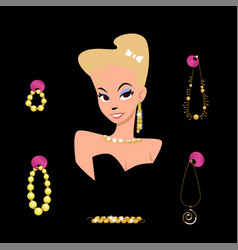 Portrait of a cartoon girl surrounded by jewelry vector