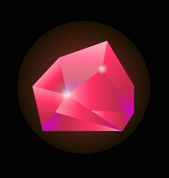 sparkling crystal in pink color isolated on black vector image vector image