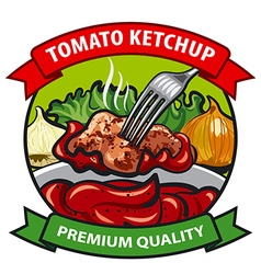 tomato ketchup label design vector image vector image