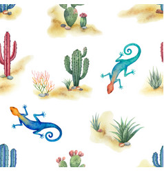watercolor seamless pattern of landscape with vector image