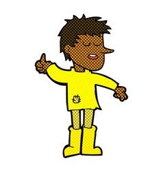 Comic cartoon poor boy with positive attitude vector