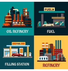Filling stations and oil refinery flat concepts vector image