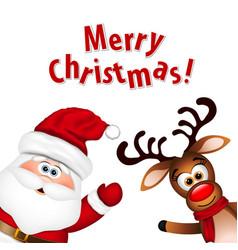 Funny Santa and Reindeer vector image