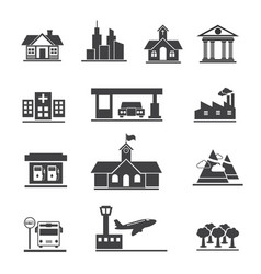 icons set of places and location vector image vector image