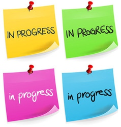 In Progress Sticky Note vector image vector image