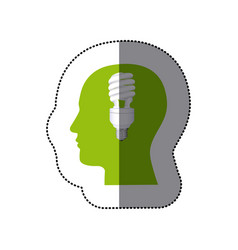 sticker color human face silhouette with vector image
