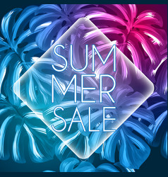 summer sale tropical design with palm leaves vector image