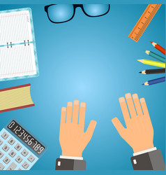 workplace concept top view hands supplies flat vector image
