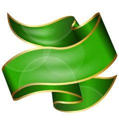 Big green ribbon isolated on white background vector image