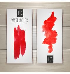 Bright red watercolor brush strokes vector