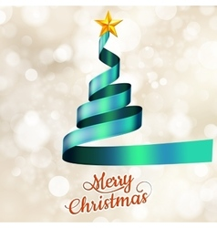 Christmas tree from blue ribbon and star EPS 10 vector image