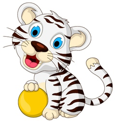 cute baby white tiger posing with yellow ball vector image vector image