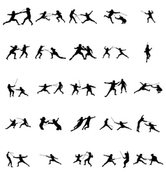 Fencing silhouette set vector