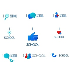 i love schoolsocial network and media icons vector image vector image