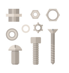 screw bolt and nut icons set vector image vector image