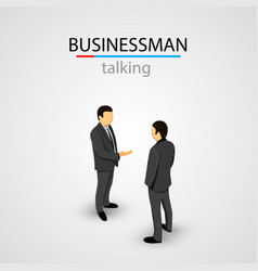two businessmen in suits talking vector image vector image