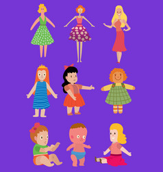 baby cartoon dolls toy character girls vector image