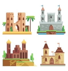 Castles and fortresses flat icons set vector image