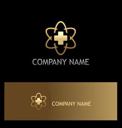 cross medic hospital technology gold logo vector image vector image