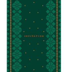 Invitation greeting card on dark green background vector