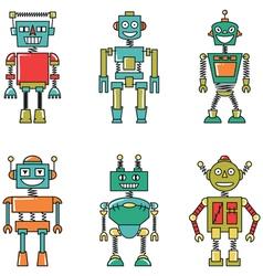Retro colorful smart robots set vector image vector image