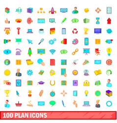 100 plan icons set cartoon style vector
