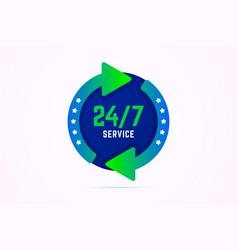 24 7 hours service sign with green arrows vector image