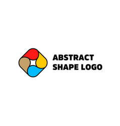 Abstract shape logo isolated red yellow vector