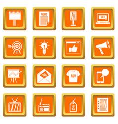 Advertisement icons set orange vector
