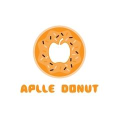 apple donut negative space concept vector image