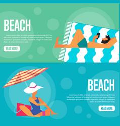 beach website template set horizontal banners vector image