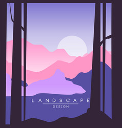 Beautiful peaceful landscape sunset in mountains vector