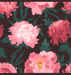 Beautiful pink japanese peonies and chrysanthemum vector