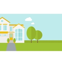 Big house with trees vector