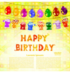 Birthday greeting with a garland of balloons vector