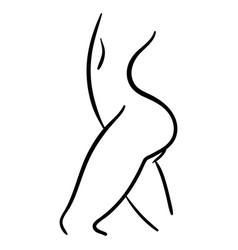 Black contour icon woman body in profile vector
