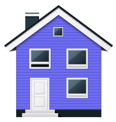 Blue two-story wooden suburban townhouse vector