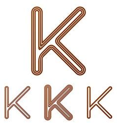 Brown line k logo design set vector image
