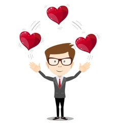 Business man juggling hearts vector image