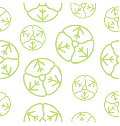 cabbage seamless pattern outline vegetable set vector image