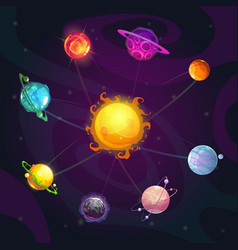 cartoon colorful fantasy solar system with star vector image
