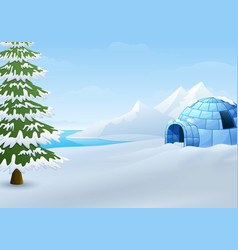 Cartoon of igloo with fir trees and mountains in w vector