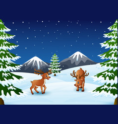 cartoon reindeer on a winter background vector image