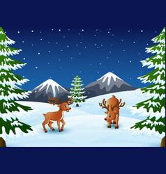 Cartoon reindeer on a winter background vector