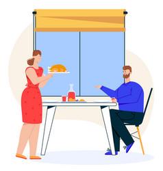 character family dinner vector image