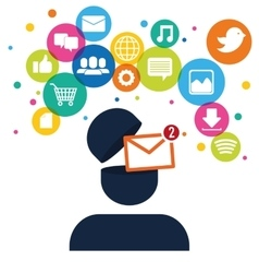 character receved email social network vector image