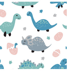 Childish seamless pattern with cute dinosaurs vector